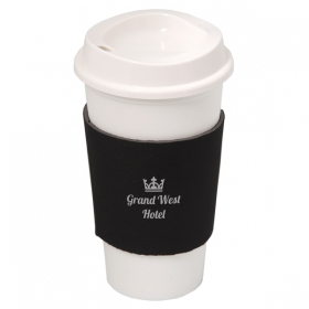 Promotional products: NYC PLASTIC CUP WITH NEOPRENE SLEEVE