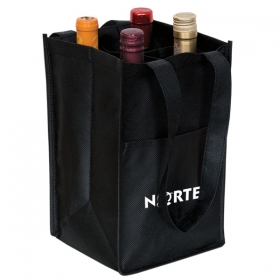 Promotional products: NON WOVEN FOUR BOTTLE WINE BAG
