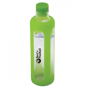 Promotional products: 600 Ml. (20 Oz.) Glass Water Bottle With Silicone Sleeve