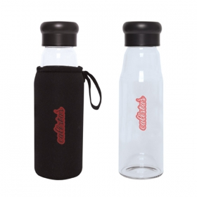 Promotional products: Evora 420 Ml. (14 Oz.) Borosilicate Glass Bottle With Sleeve