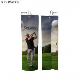 Promotional products: Sublimated Or Blank Microfiber Terry Trifolded Golf Towel, 5x18