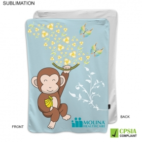 Promotional products: Sublimated Or Blank Fleece Baby Blanket 28x42