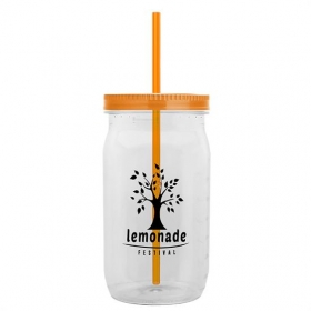 Promotional products: 27 Oz Clear Tritan Mason Jar With Straw Lid