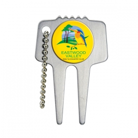 Promotional products: Domed Steel Divot Tool With Chain