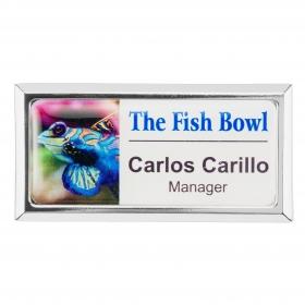Promotional products: Rectangle beveled name badge (magnet bar)
