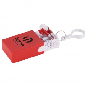 Promotional products: Wired Earbuds With Keychain Case And Stand