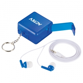 Promotional products: Sound Off Wired Earbuds With Stand And Keychain