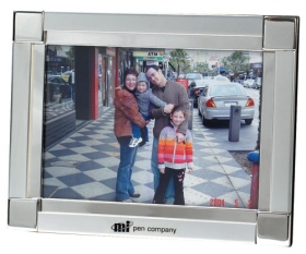 "Promotional products: 2-tone satin nickel/silver 5"" x 7"" picture frame"