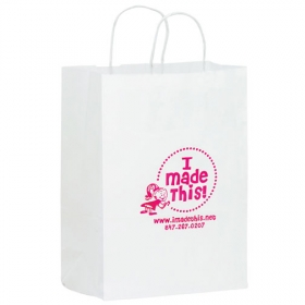 Promotional products: 10 X 13 X 5 White Kraft Shopper