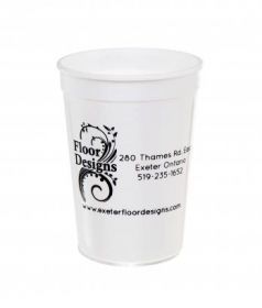 Promotional products: 12 oz. / White/Stadium - Reusable Plastic Cups