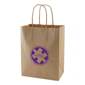 Promotional products: 8 x 4.75 x 10.5 natural kraft shopping bags