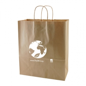 Promotional products: 13 x 6 x 15.75 natural kraft shopping bags