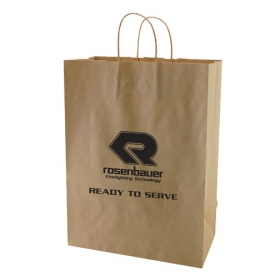Promotional products: 13 x 7 x 17.5 natural kraft shopping bags