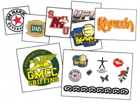 "Promotional products: 1.5"" x 2"" temporary tattoos"