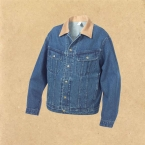 Promotional Denim jean jacket snap front unlined stone wash.
