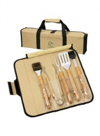 Promotional products: 5pc BBQ Set(Bamboo) in Roll-Up Case