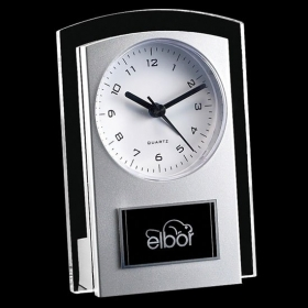 """Promotional products: Mallory Clock - Silver/Clear 5½"""""""