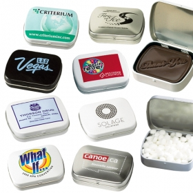 Promotional products: Domed tin filled with mints, gum or chocolate